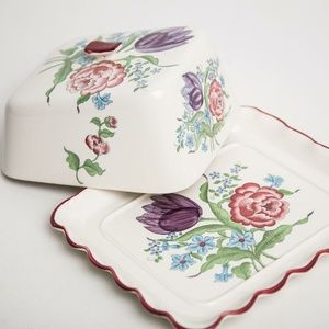 Vintage Floral Butter Dish with Cover